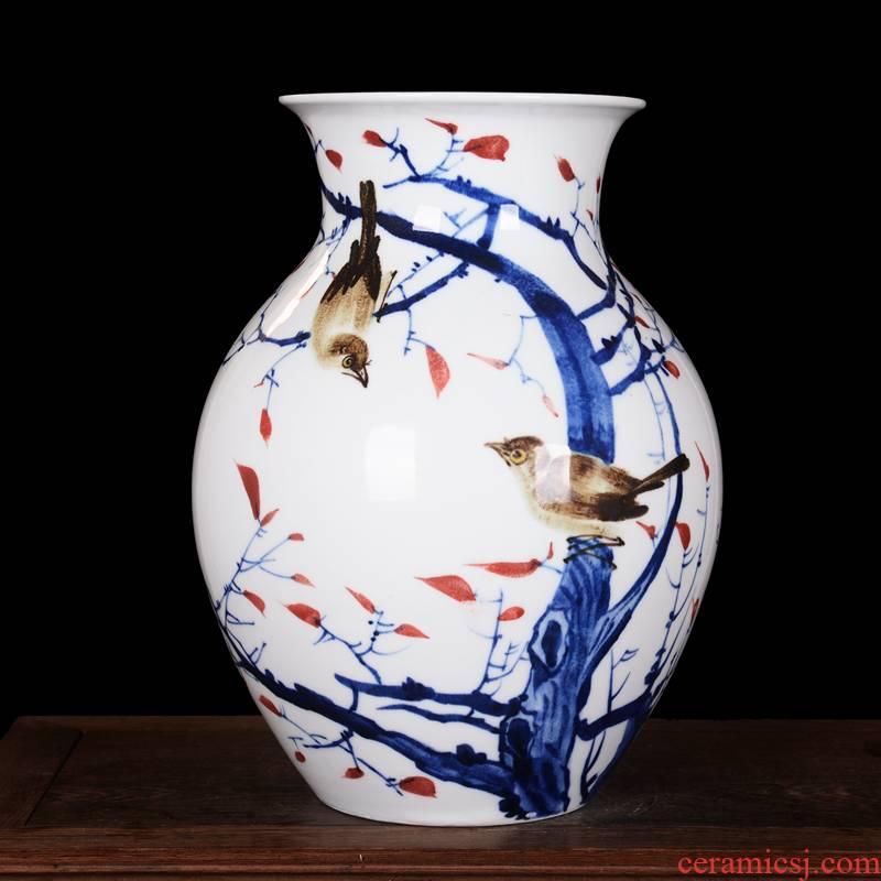 Master hand made blue and white porcelain vases, jingdezhen ceramics Chinese style living room TV ark, flower arranging porch is decorated furnishing articles