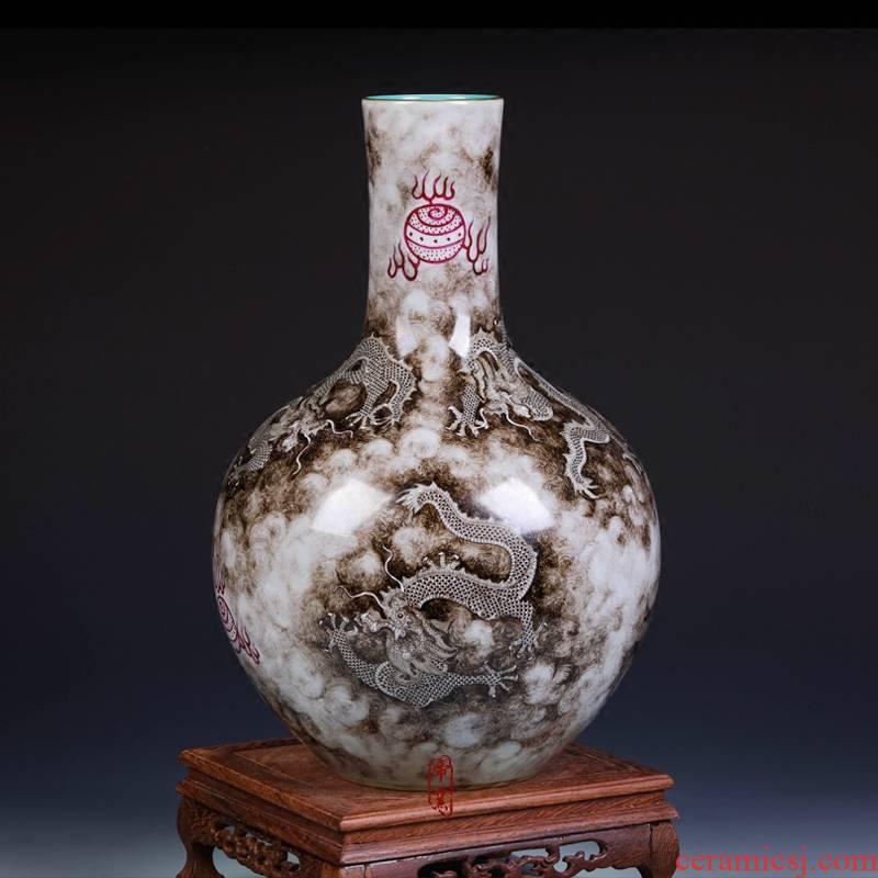 Imitation the qing qianlong ink cloud dragon cast bead grain tree of jingdezhen ceramics handicraft home furnishing articles in the living room