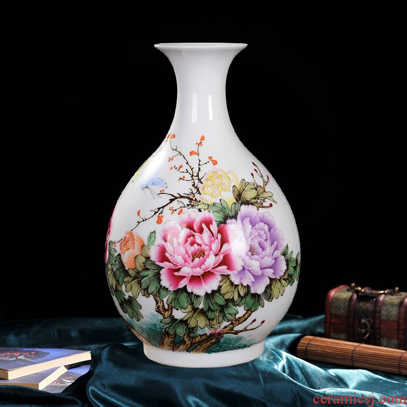Jingdezhen ceramics Xiong Guiying hand - made enamel vase Chinese style living room TV ark, flower arranging porch is decorated furnishing articles