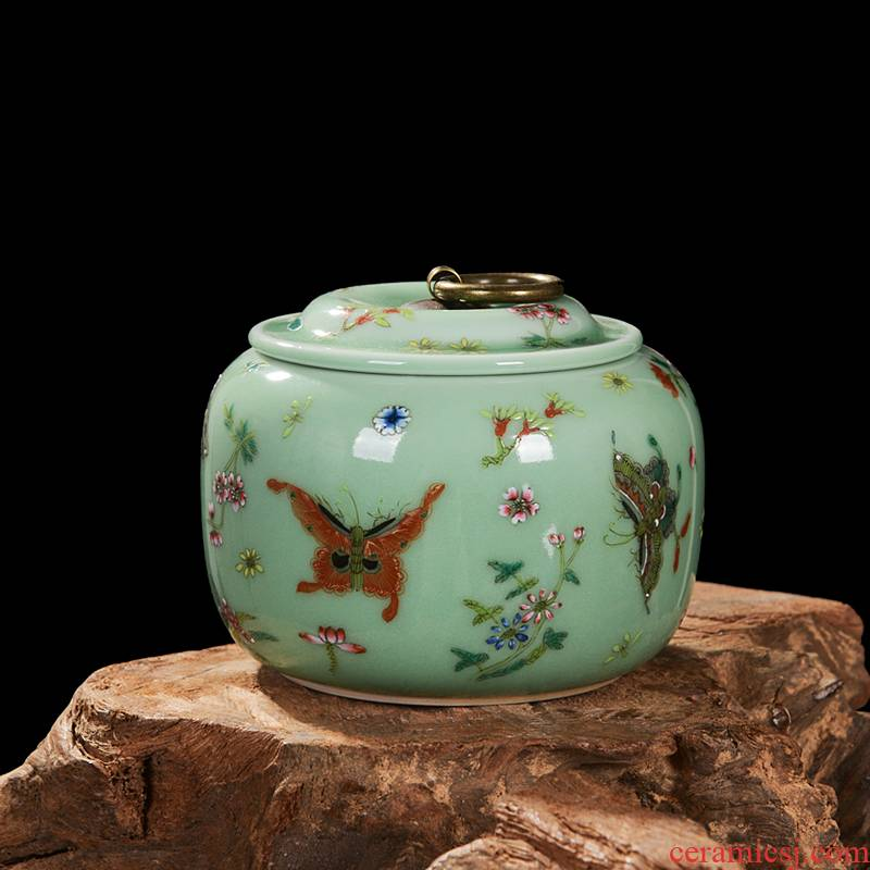 Jingdezhen ceramics pea green, archaize caddy fixings storage tank snack jars household adornment handicraft furnishing articles