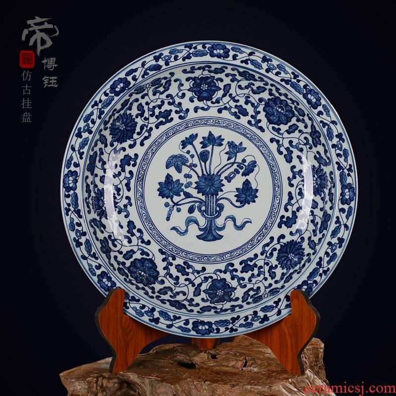 Jingdezhen ceramic decoration plate sit plate hanging dish hand - made of blue and white lotus seed plate antique crafts are refined