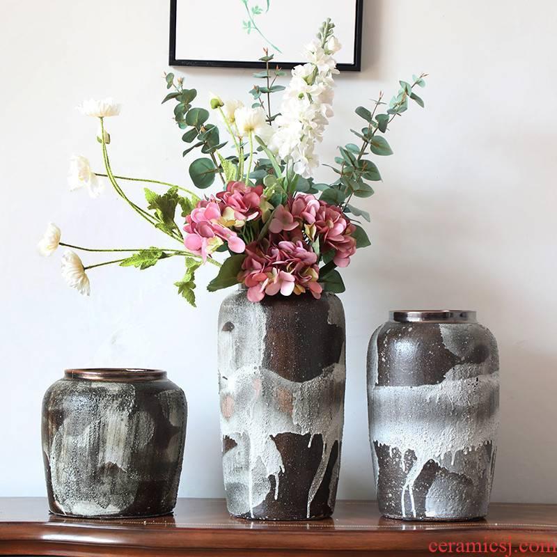 Boreal Europe style ins decorative porcelain vase coarse pottery flower arranging simulation floral decoration suit porch desktop furnishing articles