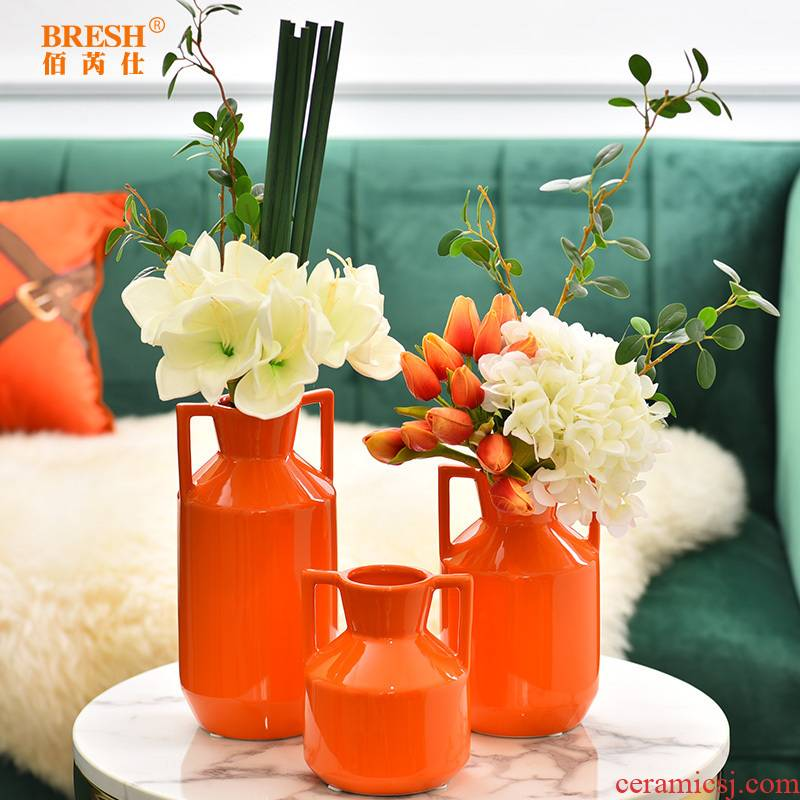 Light the key-2 luxury of modern ceramic vase example room household soft adornment table flower art furnishing articles H1001 TV ark