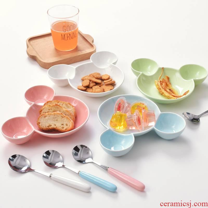 Japanese cartoon ceramic baby children cutlery set plate frame plate creative space home breakfast dish