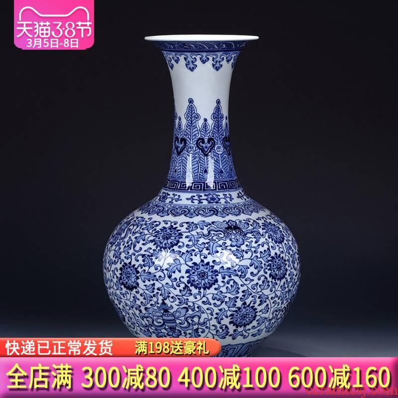 Jingdezhen ceramics imitation the qing qianlong year vases, flower receptacle mesa of antique Chinese blue and white porcelain vase furnishing articles