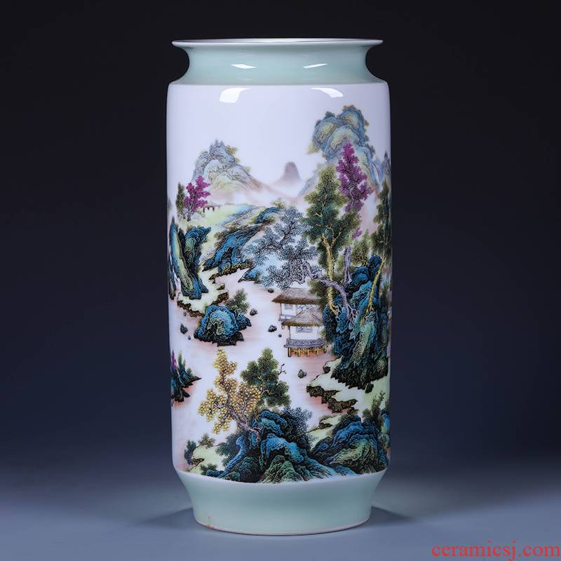 Jingdezhen ceramics green glaze landscape of large vases, flower arranging new Chinese style living room TV ark adornment furnishing articles