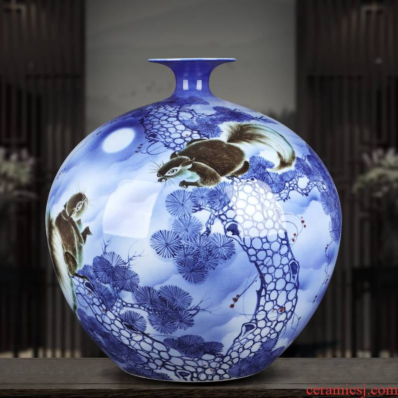 Jingdezhen ceramic vase large hand - made gold rat prosperous wealth pomegranate gift collection villa hotel furnishing articles ornament