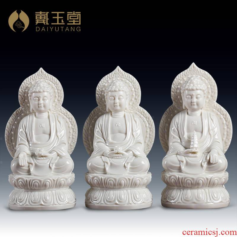 Yutang dai ceramic 7 inches with screen gems Buddha amitabha medicine the guru Buddha sakyamuni Buddha enshrined at home