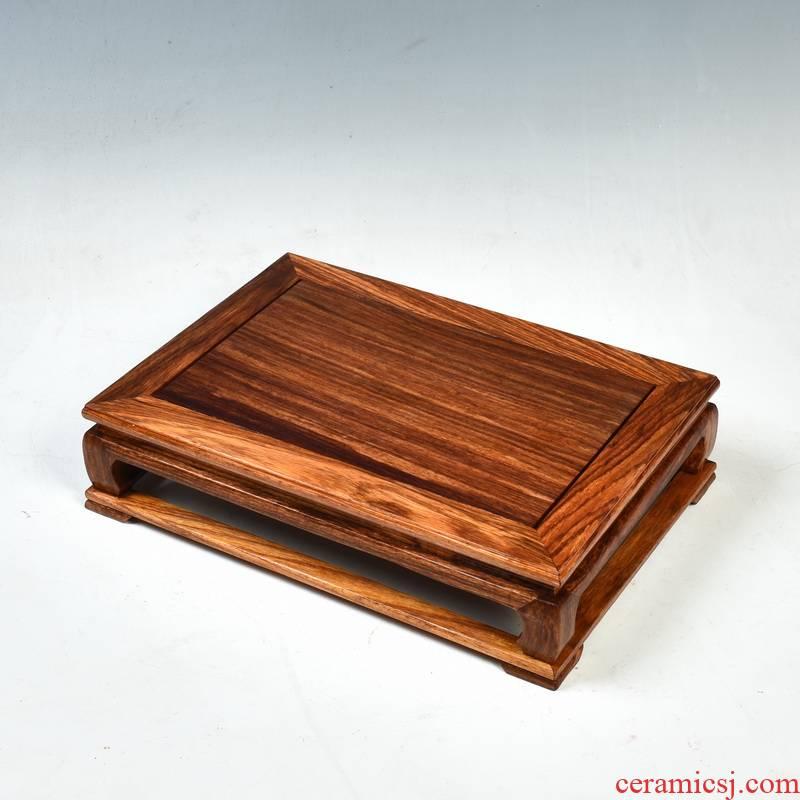 Redwood base rectangle rosewood carving bright type handicraft furnishing articles base miniascape base planter base solid wood