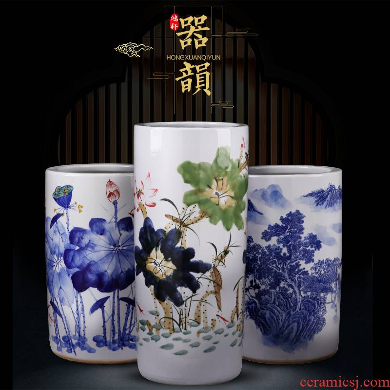 Jingdezhen large vases, ceramic floor large manual hand - made porcelain quiver straight porcelain child sitting room adornment