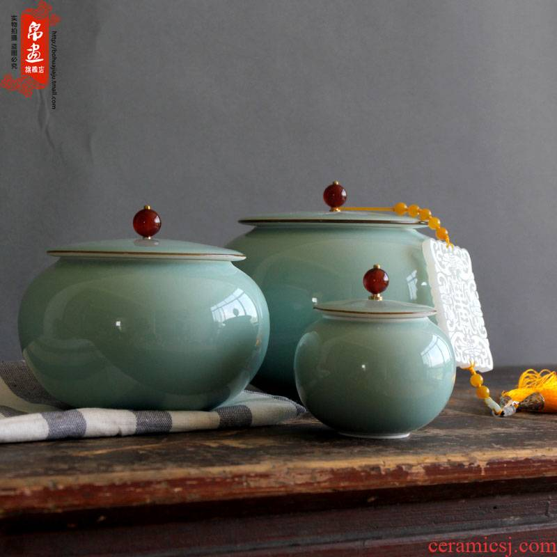 Jingdezhen ceramic film blue classic caddy fixings decoration household hand shadow green POTS, ceramic tea machine 's accessories