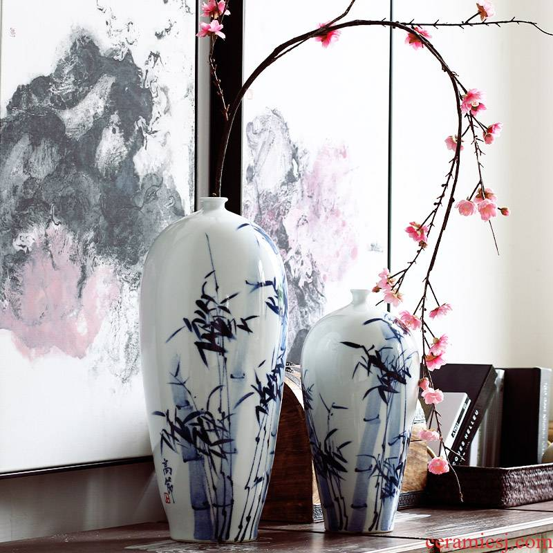 Jingdezhen ceramic furnishing articles Chinese blue and white porcelain vase hand - made beauty shoulder vases, flower, flower, flower arranging furnishing articles