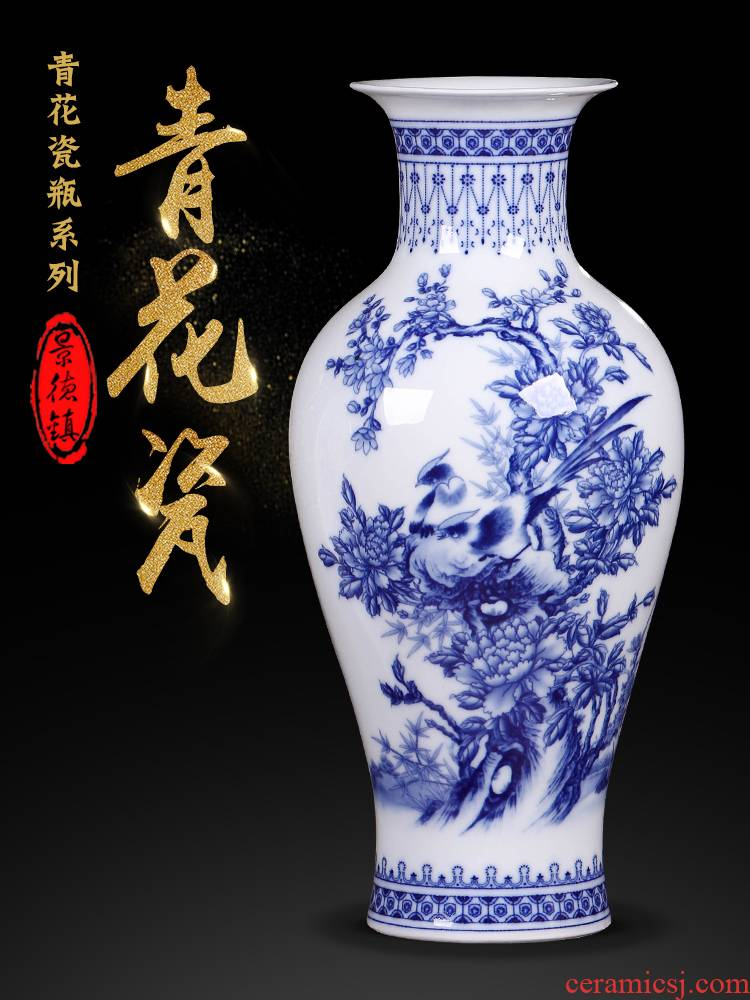 Jingdezhen ceramics small blue and white porcelain vases, flower arranging new sitting room of Chinese style household act the role ofing is tasted TV ark, furnishing articles