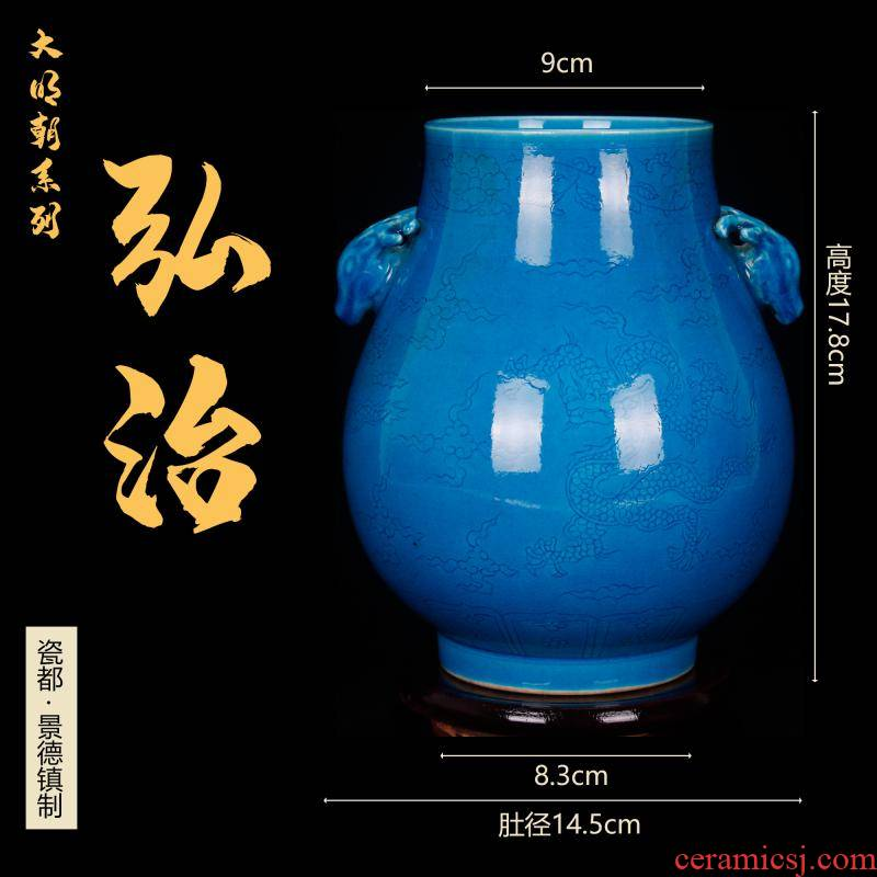 Jingdezhen imitation Ming hongzhi peacock blue glaze carving heshan lonfu industrial co tube of antique reproduction antique Chinese antique old items furnishing articles