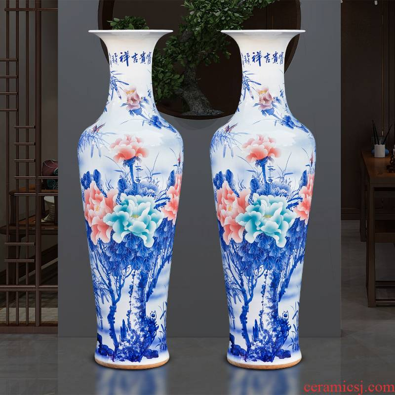 Jingdezhen ceramics of large vase furnishing articles hotel Chinese flower arranging hand - made large blue and white porcelain vases sitting room
