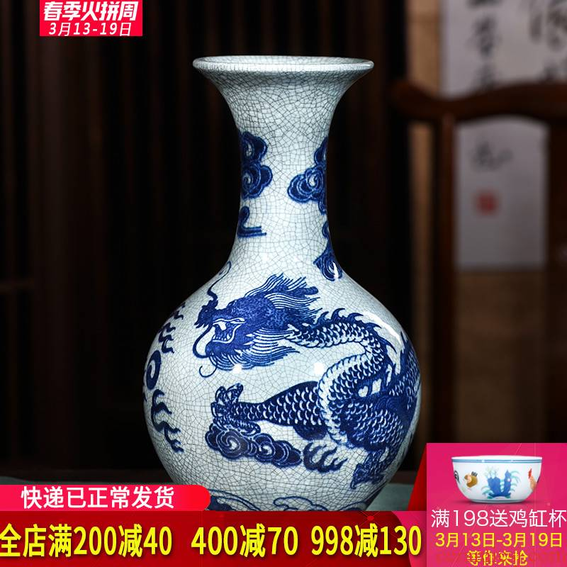 Jingdezhen ceramics dragon playing pearl blue and white porcelain vases, flower arrangement furnishing articles furnishing articles archaize sitting room of the new Chinese style
