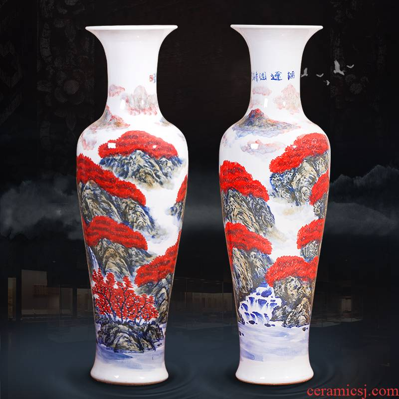 Jingdezhen ceramics hand - made modern landscape painting of large vase of new Chinese style living room TV cabinet porch place