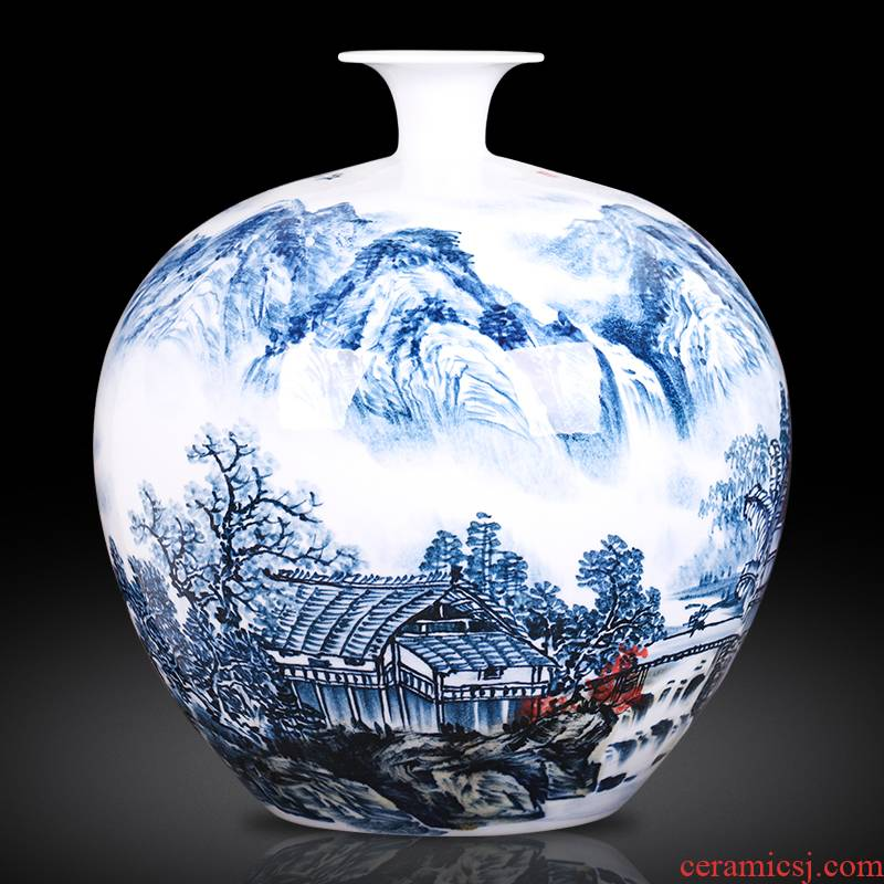 Famous master of jingdezhen ceramics hand - made scenery pomegranate bottles of new Chinese style sitting room adornment that occupy the home furnishing articles
