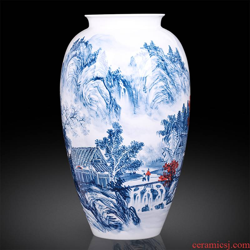 Jingdezhen ceramics master hand made blue and white porcelain vases, landscape painting of the sitting room porch decoration of the new Chinese style furnishing articles