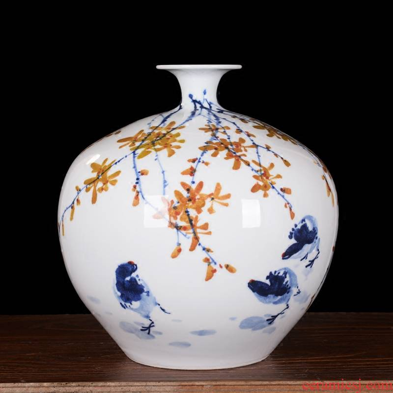 Jingdezhen ceramics high - grade modern master hand - made pomegranate flower vase household decoration as the sitting room furnishing articles