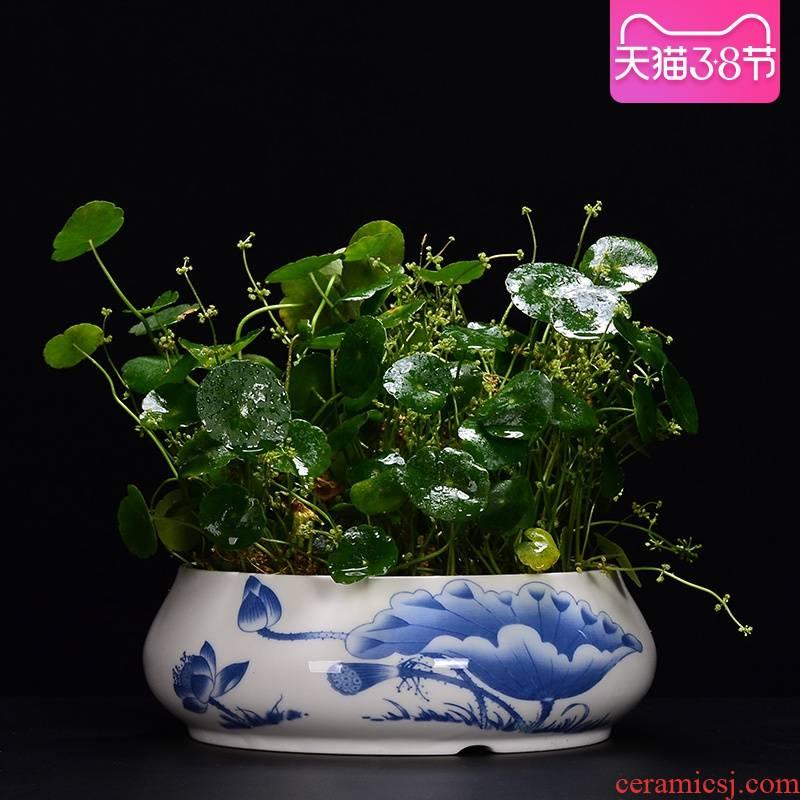 Jian mountain flower arrangement is a Japanese flower arrangement hydroponic flower pot large ceramic bowl lotus lotus basin grass cooper refers to flower pot