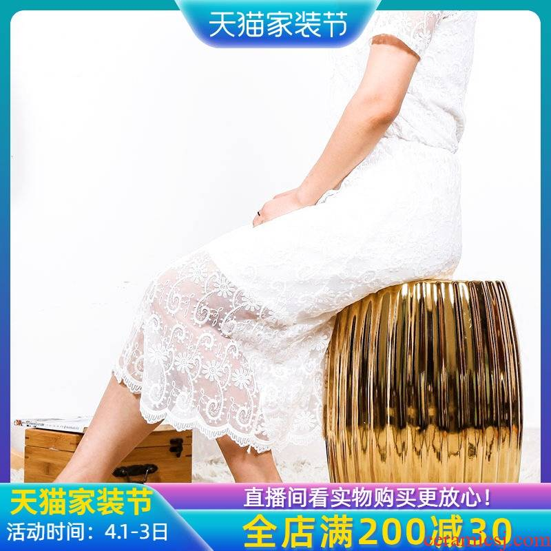 New Chinese style American - style mix build I sitting room ceramic drum who toilet who to sit who embroidered pier study adornment furnishing articles