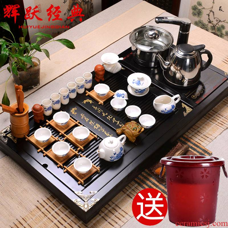 Hui, make ceramic tea sets quality goods/ipads China kung fu tea set/induction cooker solid wood tea tray was calligraphy