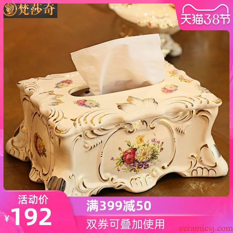 Brahman Sally 's key-2 luxury European - style tissue box ceramic creative home decorations retro smoke box sitting room tea table