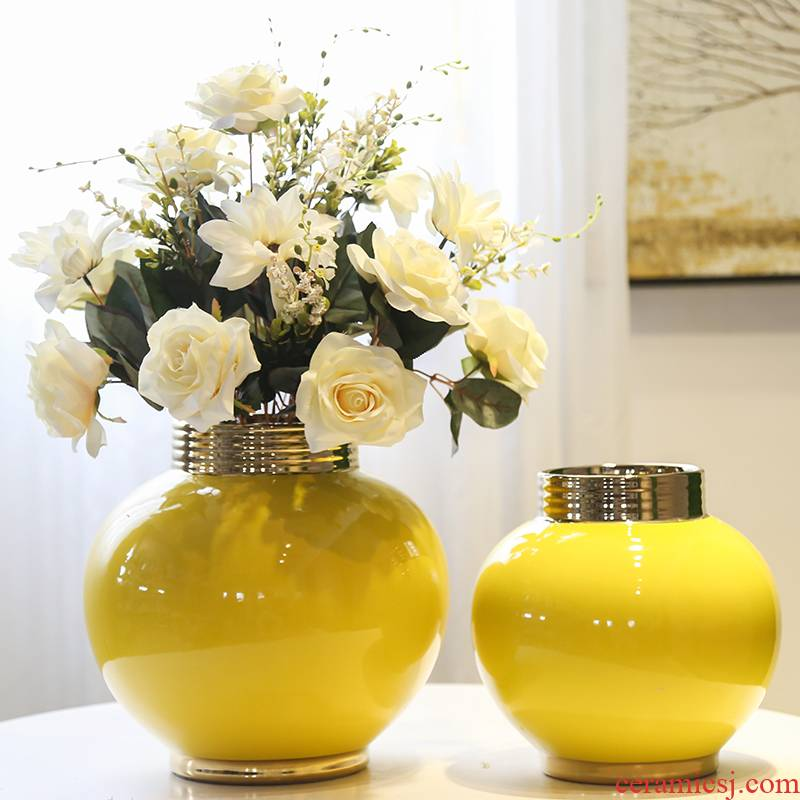 Jingdezhen mesa gold - plated circular vase decoration of the new Chinese style furnishing articles between sitting room dining - room hotel example big decoration
