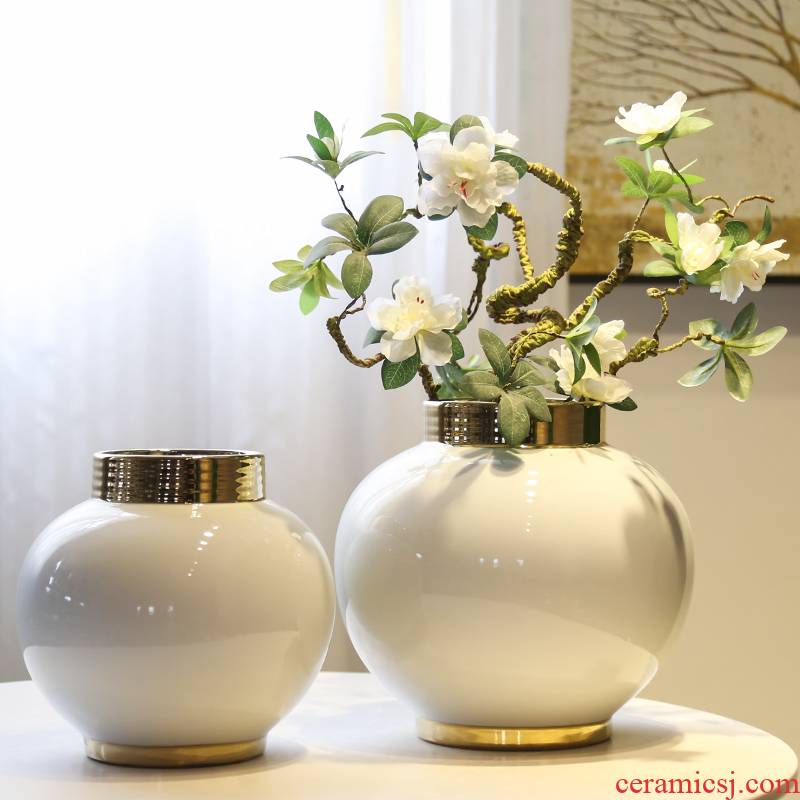 The sitting room porch Taiwan crispy noodles flower arranging device of jingdezhen ceramic hotel decoration decorative vase modern new Chinese style restaurant