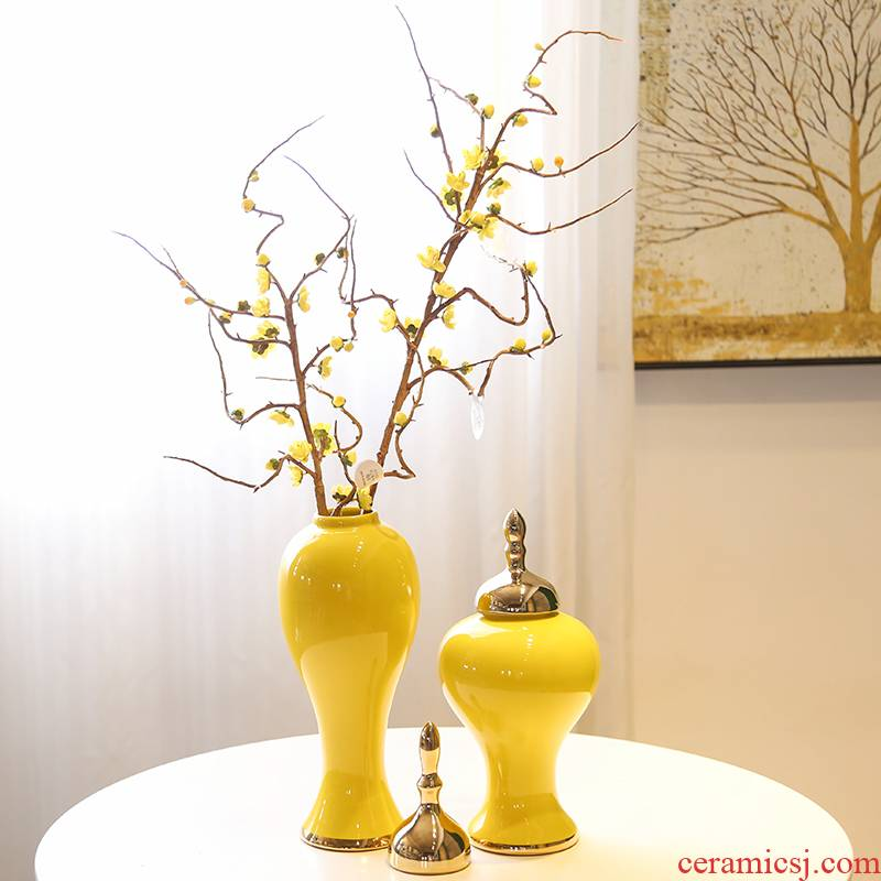 General new Chinese jingdezhen ceramic pot furnishing articles piggy bank creative living room yellow flower flower bottle ornament