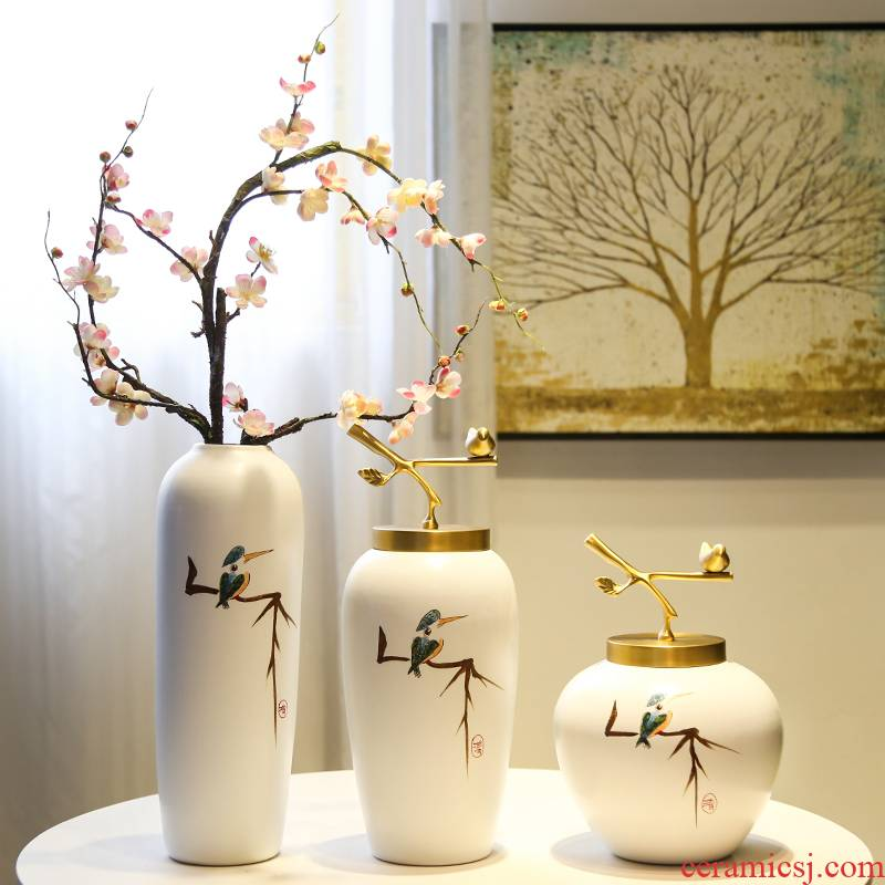 Jingdezhen new Chinese flower arranging example room porch TV ark hotel soft adornment ceramic vase furnishing articles sitting room