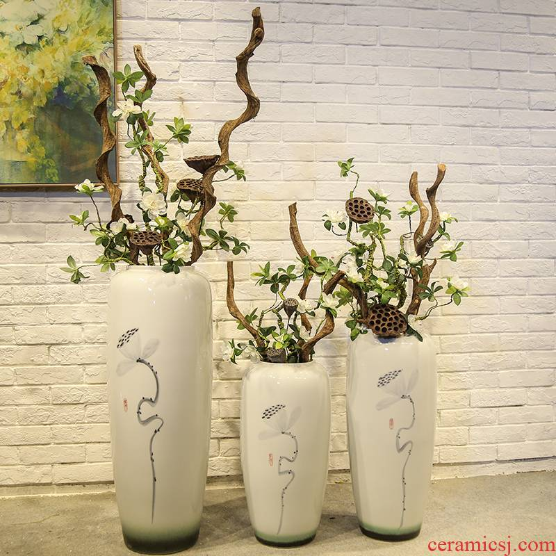 New Chinese style floor vase store clothing store, the sitting room is decorated flower implement jingdezhen ceramic flower receptacle, furnishing articles