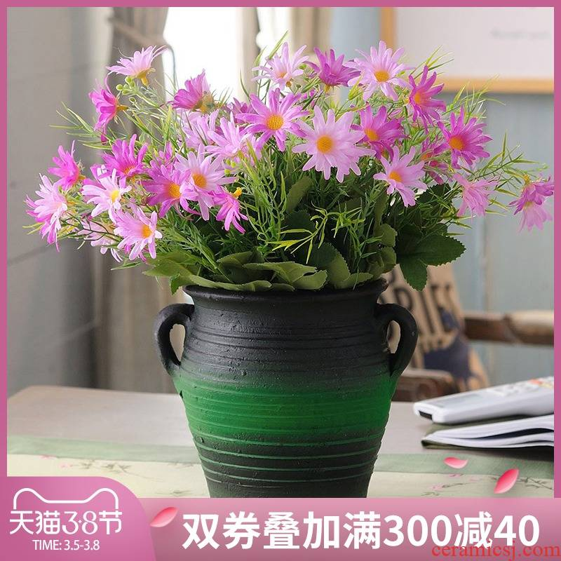 New Chinese style restoring ancient ways pottery vase creative flower arranging dried flowers sitting room tea table table decorations thick TaoHua furnishing articles