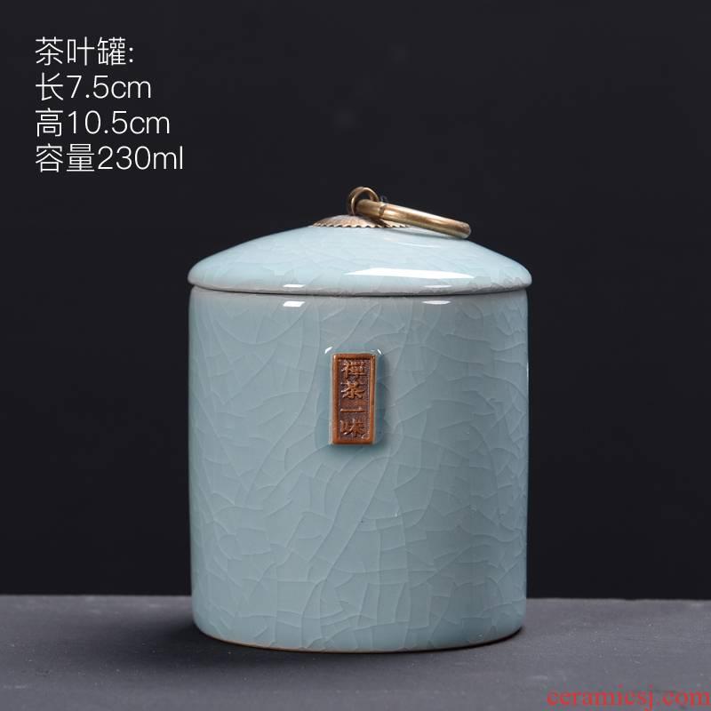 Elder brother up with sealing ceramic tea caddy fixings box travel warehouse storage tank pu 'er tea pot POTS of tea packaging