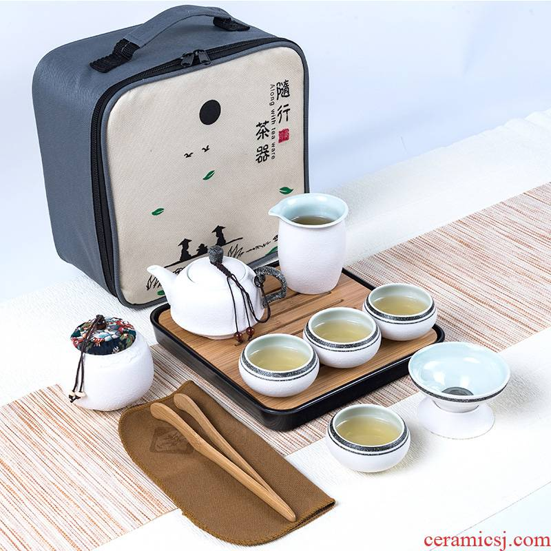 Travel tea sets portable ceramic household contracted kung fu outdoors Travel bag, black pottery teapot tea cup