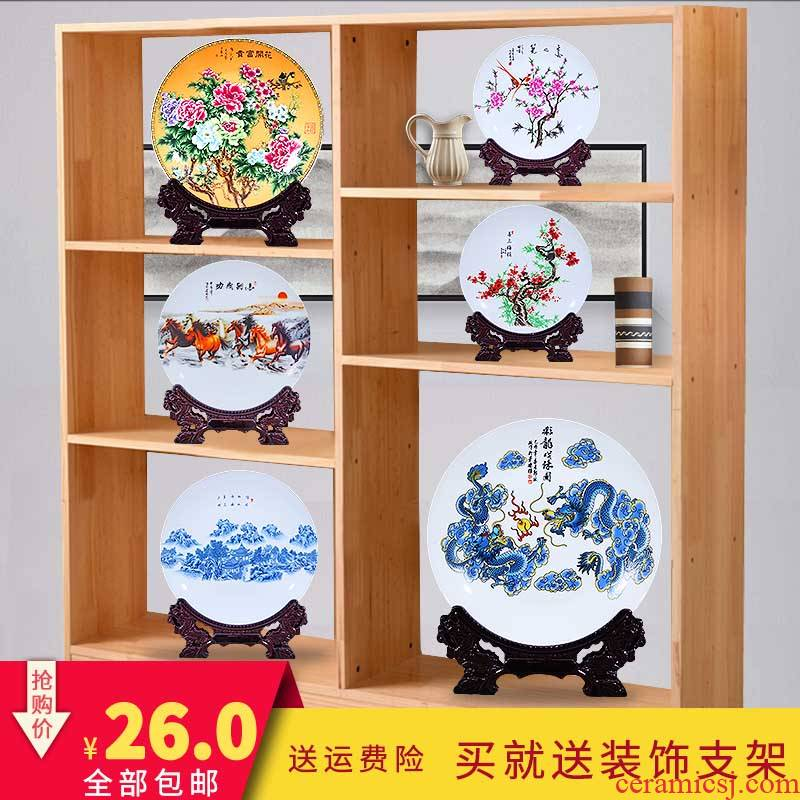 Jingdezhen ceramic plate decoration ideas sitting room place plate plate plate process in living in adornment is small adorn article