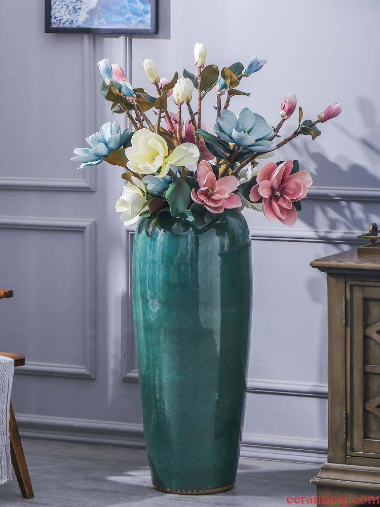Contracted and I European ceramics of large vase flowerpot variable glaze dried flowers flower arrangement sitting room adornment ornament