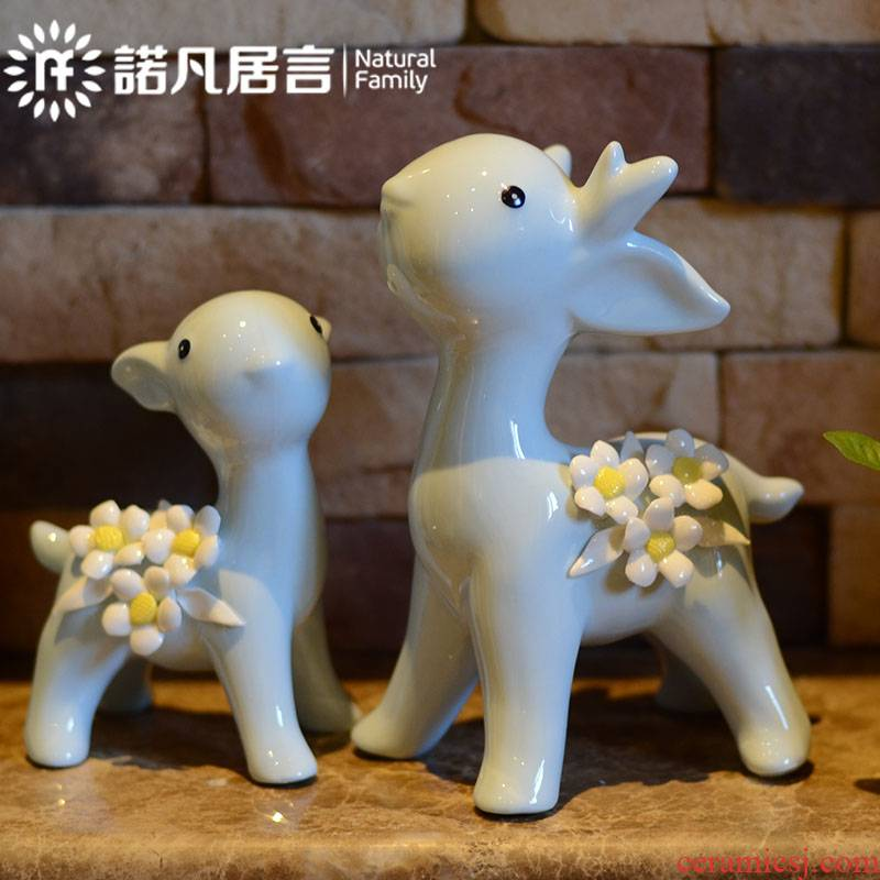 Ceramic small place hotel club house decoration is I and contracted sitting room Nordic creative craft gift flowers deer ornament