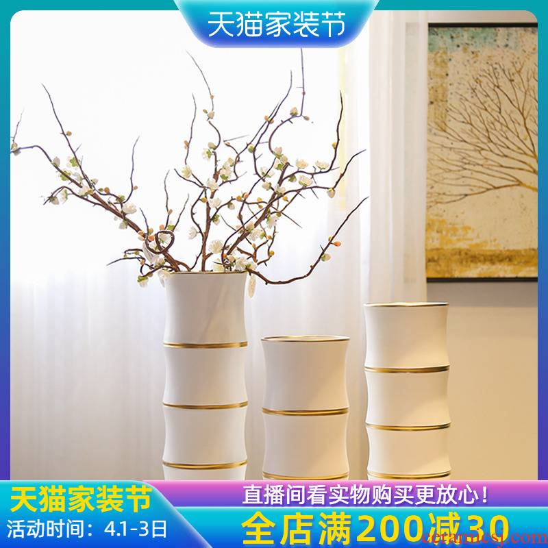 Jingdezhen new Chinese vase TV cabinet mesa porch white flower flower implement furnishing articles simulation floral ornament