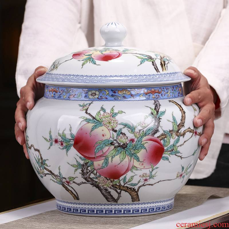 Jingdezhen ceramics powder enamel nine peach tea pot large household seal pot puer tea cake tea urn with cover
