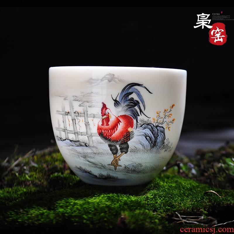 Jingdezhen hand - made master cup sample tea cup famille rose porcelain cups rooster kung fu tea cup single CPU individual small tea cups