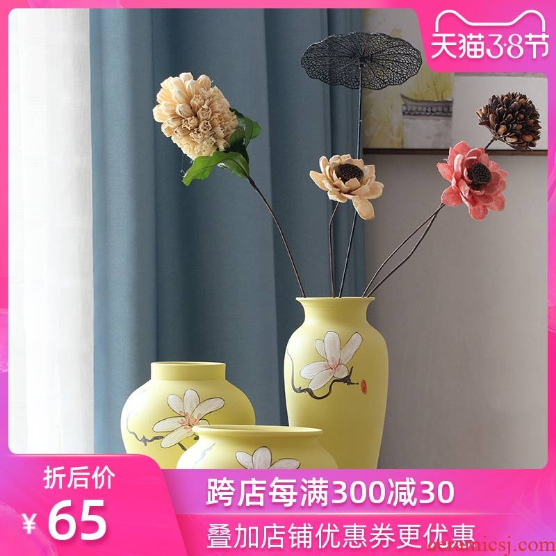 Art show of new Chinese style between small pure and fresh and yulan three - piece ceramic vase example household act the role ofing is tasted decorative porcelain furnishing articles
