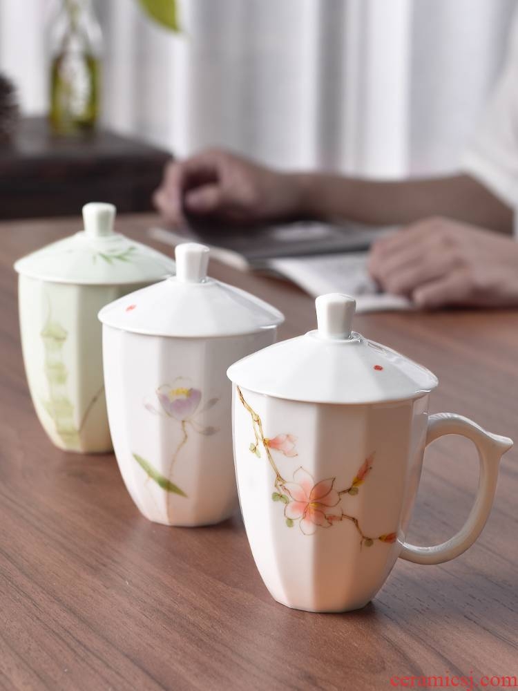 Mud seal large - capacity glass household creative mark cup with cover hand - made ceramic cup ultimately responds cup office meeting