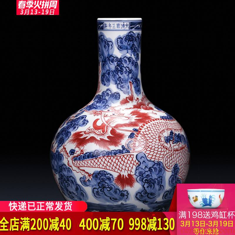 Jingdezhen ceramics imitation yongzheng hand - made antique blue and white porcelain dragon vase flower arranging Chinese style living room home furnishing articles