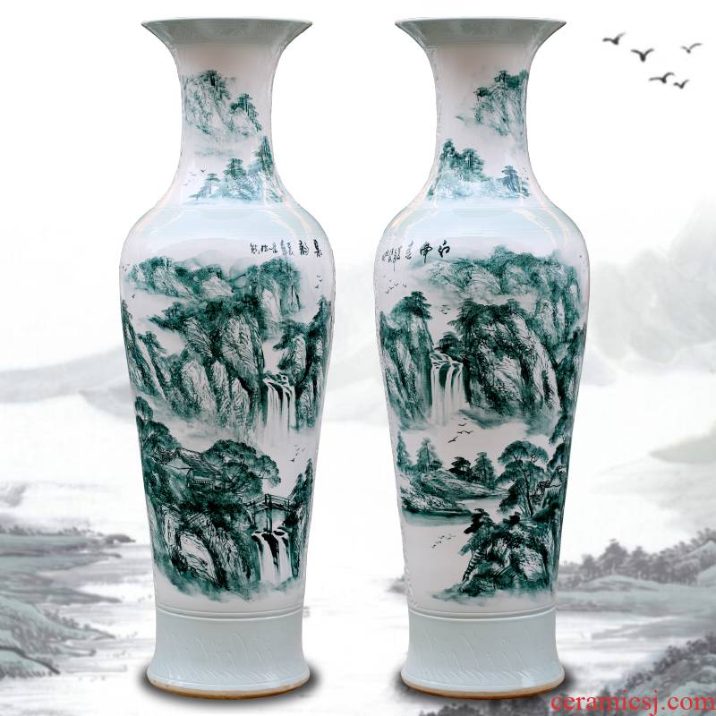 Jingdezhen ceramic hand - made traditional Chinese painting landscape big vase sitting room hotel opening gifts store hall floor furnishing articles
