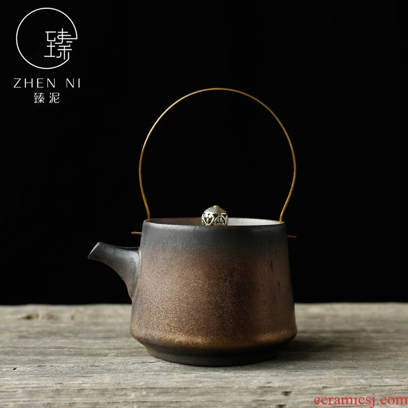 Japanese girder by mud pot of jingdezhen ceramics by hand gold up kung fu tea teapot restoring ancient ways the teapot