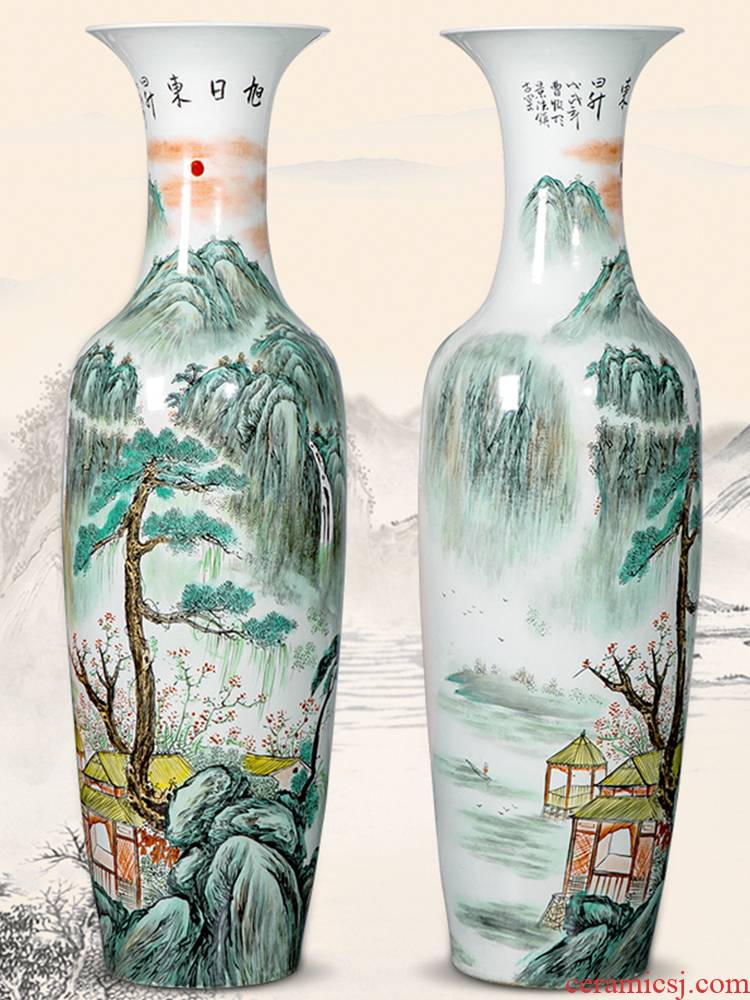 Jingdezhen ceramics hand - made landing big vase high furnishing articles of Chinese style decoration opening gifts to heavy large sitting room