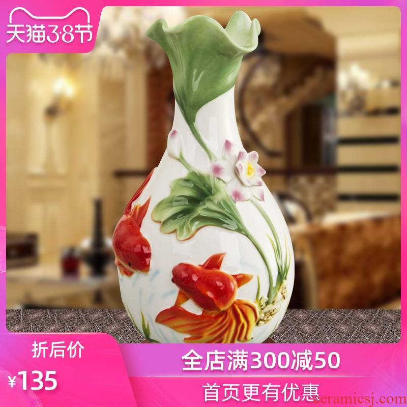 Jingdezhen ceramic gift of home furnishing articles household decoration decoration flower goldfish enamel porcelain vase