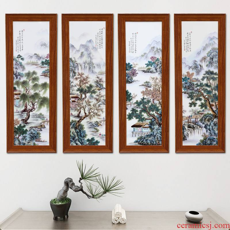 Jingdezhen study of new Chinese style of sitting room adornment four panel strip quadruple landscape of traditional Chinese painting hangs a picture scroll calligraphy and painting
